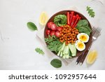 buddha bowl  healthy and...   Shutterstock . vector #1092957644