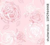 vector seamless rose pattern | Shutterstock .eps vector #1092964448