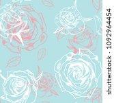 vector seamless rose pattern | Shutterstock .eps vector #1092964454