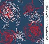 vector seamless rose pattern | Shutterstock .eps vector #1092964460