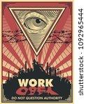 vector work propaganda poster.... | Shutterstock .eps vector #1092965444