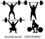 weight lifting silhouette on... | Shutterstock .eps vector #109296860