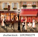 evening walk on the street of... | Shutterstock .eps vector #1092983279