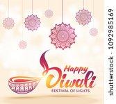 happy diwali festival of lights ... | Shutterstock .eps vector #1092985169