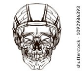 skull contour sketch for tattoo ... | Shutterstock .eps vector #1092986393