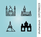 filled monuments 4 vector icons ... | Shutterstock .eps vector #1092988223