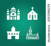 filled monuments 4 vector icons ... | Shutterstock .eps vector #1092988259