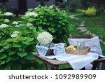 summer breakfast in beautiful... | Shutterstock . vector #1092989909