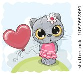 greeting card cat girl with... | Shutterstock .eps vector #1092992894