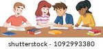 cartoon teenager students with... | Shutterstock .eps vector #1092993380