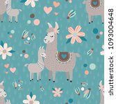 vector teal mama llama seamless ... | Shutterstock .eps vector #1093004648