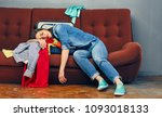 tired woman lying on sofa with... | Shutterstock . vector #1093018133
