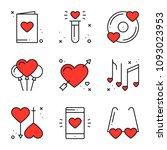love line icons set. happy... | Shutterstock .eps vector #1093023953