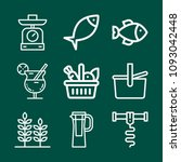 set of 9 food outline icons... | Shutterstock .eps vector #1093042448