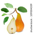 pear with leaves and slice...   Shutterstock . vector #109304339