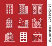 set of 9 apartments outline... | Shutterstock .eps vector #1093043414