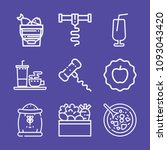 set of 9 food outline icons... | Shutterstock .eps vector #1093043420