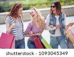 happy young women having fun in ... | Shutterstock . vector #1093045349