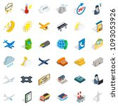 fly icons set. isometric style... | Shutterstock . vector #1093053926