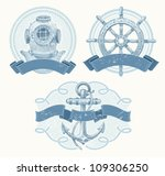 Nautical Vector Emblems With...