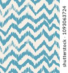 Ikat seamless pattern. Vector tie dye shibori print with stripes and chevron. Ink textured japanese background. Ethnic fabric vector. Bohemian fashion. Endless watercolor texture. African rug. | Shutterstock vector #1093063724
