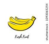 fresh fruit  banana  doodle... | Shutterstock .eps vector #1093065254