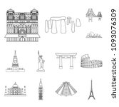 sights of different countries... | Shutterstock . vector #1093076309