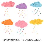 cute vector clouds with... | Shutterstock .eps vector #1093076330