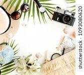 top view on traveler... | Shutterstock . vector #1093080620