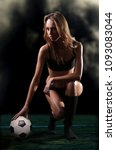 young athletic girl with a... | Shutterstock . vector #1093083044