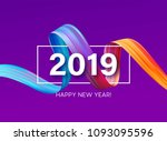 2019 new year of a colorful... | Shutterstock .eps vector #1093095596