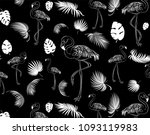 flamingo pattern. tropical... | Shutterstock .eps vector #1093119983