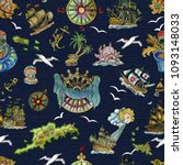 seamless pattern with pirate... | Shutterstock . vector #1093148033