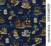 seamless pattern with pirate... | Shutterstock . vector #1093148039