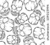 skull monochromatic line seamless pattern - stock vector