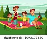 vector cartoon caucasian family ... | Shutterstock .eps vector #1093173680