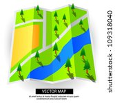 vector map with paper trees | Shutterstock .eps vector #109318040