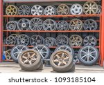 car tires and wheels on display ... | Shutterstock . vector #1093185104
