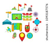 navigation icons set in hand... | Shutterstock .eps vector #1093187576