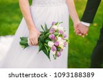wedding bouquet with violet... | Shutterstock . vector #1093188389