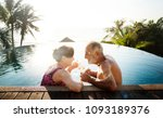 a honeymoon couple enjoying... | Shutterstock . vector #1093189376