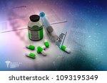 3d illustration syringe pills... | Shutterstock . vector #1093195349