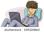 man using laptop in the bed | Shutterstock .eps vector #109320863