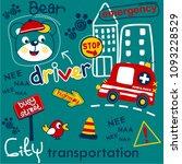 bear and car pattern vector... | Shutterstock .eps vector #1093228529