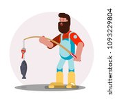 man standing with fishing rod | Shutterstock .eps vector #1093229804