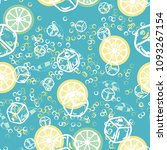 fruit pattern with lemon and... | Shutterstock .eps vector #1093267154
