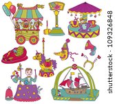 hand drawn vintage circus set... | Shutterstock .eps vector #109326848