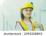 pretty little girl dressed in... | Shutterstock . vector #1093268843