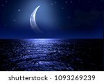 crescent moon over the sea at... | Shutterstock . vector #1093269239