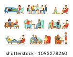 patients at a reception at the... | Shutterstock .eps vector #1093278260